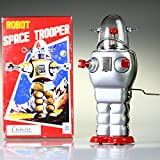 TR2007 Silber Große Roboter Space Trooper Vintage Reproduktion Windup Spielzeug COLLECTABLE