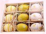 Natur Eier bemalt zum hängen - Ostereier Anhänger. 9 Stück