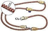 PROFTI Hundeleine aus Nylon, Lederelemente, 4fach verstellbar, große/Kleine Hunde, 1,2x230cm, robust/schwer, Rot/Grün