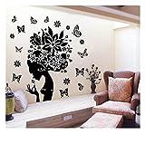 Schwarz Weiß Elegant Flower Fairy Lady mit Tanz Schmetterling Fliegen Wandtattoo Home Wohnzimmer Schlafzimmer Art Vinyl Decor