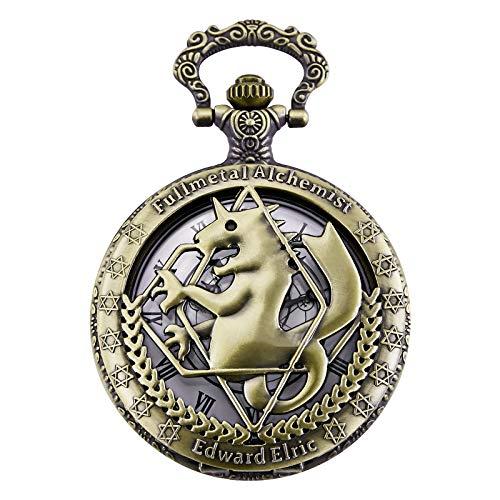 Morfong Montre de Poche Fullmetal Alchemist Edward Elric Anime avec FOB Chaîne Box, Bronze