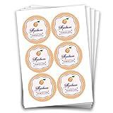 Papierdrachen 24 Aprikosen Marmeladensticker Design 16 - Aufkleber 4 cm für selbstgemachte Marmelade zum Basteln und Dekorieren