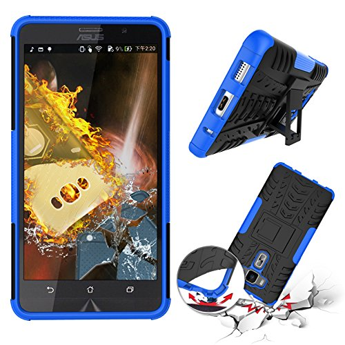 Chevron Asus Zenfone 3 ZE552KL 5.5 inch Tough Hybrid Armor Back Cover Case with Kickstand (Blue)  available at amazon for Rs.145