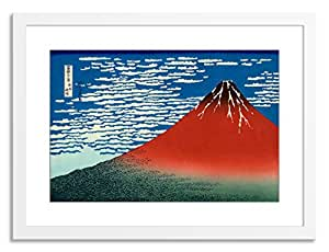"Gallery Direct Red Fuji Artwork on Paper by Katsushika Hokusai with White, Clean and Simple Frame, 28"" x 22"""