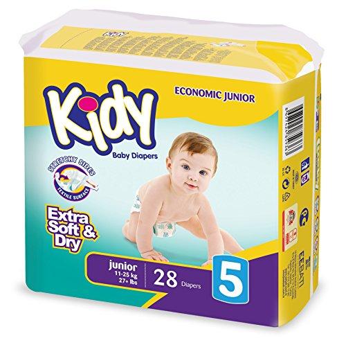 Kidy - Lotto di 5 confezioni di pannolini (28 unità, altezza 5: da 11 a 25 kg)