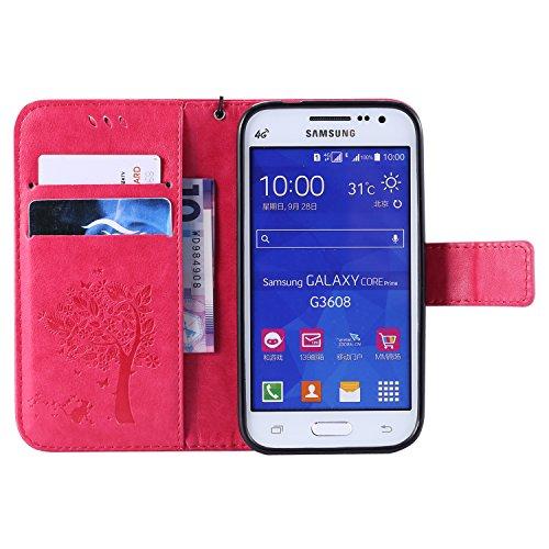 Funda Galaxy Core Prime G360,TOUCASA® PU Cuero Billetera Ranuras para Tarjetas y Billetera TPU Silicona Case Interna Suave Diseño de Árbol Gato Mariposa Patrón nueva llegada Exquisito relieve Magnético Función Delgado Funda para Samsung Galaxy Core Prime G360-Color Rosa caliente
