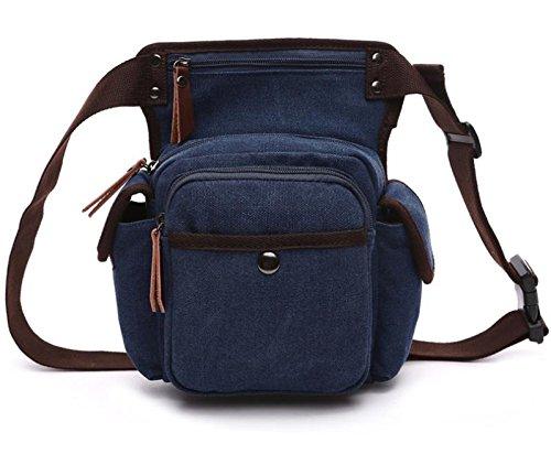 &ZHOU Borsa di tela, Borsa di tela, borse da sella tattico, svago all'aperto da tasca, impermeabile, borsa di emergenza, borsa a tracolla, borsa messenger , deep blue deep blue