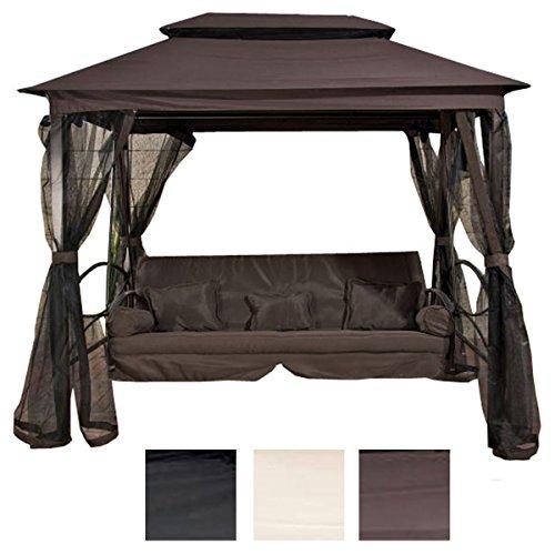 CLP Magnifique balancelle de LUXE KENIA avec fonction lit à 3 places, coussins de siège de 8 cm inclus, marron