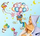 FangKuai FKAL0307 7020 Luftballons Glücklich Baby-Elefanten Kinder Wandaufkleber DIY Wandaufkleber Für Kindraum Kindraum Hauptdécor