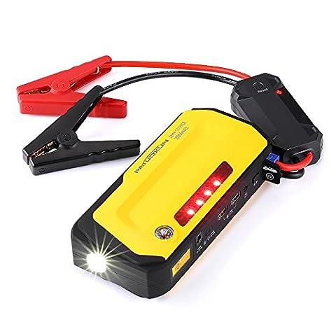 Booster Batterie 18000mAh, Demarreur Voiture, Car Jump Starter, Power Bank Portable, Chargeur avec 600A Courant de crête, Batterie rechargeable, avec lampe de poche / SOS / Strobe / Boussole Fonction, 12V véhicule 5.0L essence / 3.0L Diesel, Extérieur / Urgences / conducteur/activité plein air.