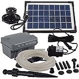 Agora-Tec - Pompa per laghetto a energia solare, anello luminoso a 3 LED, 3,5 W, con batteria e 5 m di tubo inclusi, portata massima210 l/h, prevalenza massima 1 m con l'utilizzo di un tubo