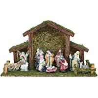 Toyland® Traditional Christmas Nativity Scene - Stable With 12 Nativity Figures - Christmas Decorations