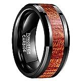 Nuncad Damen Herren Ring mit Holz Schwarz 10mm Breit für Jahrestag Hochzeit Verlobung Fashion Accessoires Größe 62 (22)