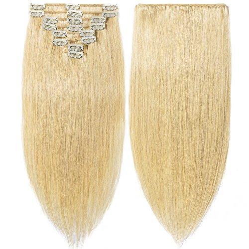 100% Remy-Echthaar Clip-In-Extensions für komplette Haarverlängerung 80g-33cm (#24 Natürlich Blond)