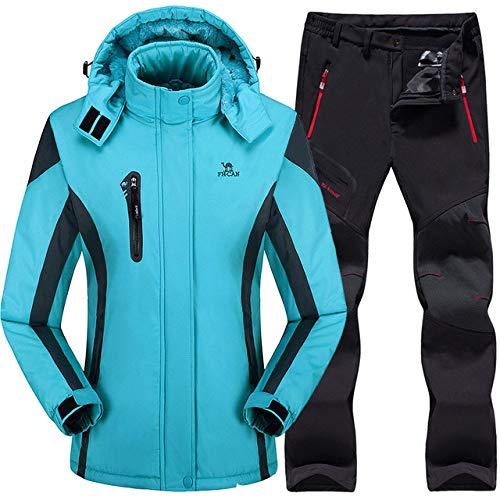AXIANNV Skianzug für Frauen, Ski Jacke Hosen wasserdicht Berg Skianzug Snowboard Sets Winter Outdoor Sports, Sky Blue, L
