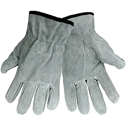 Global Glove 3200S Cow Grain Leather Split Driver Glove, Work, Large, Gray (Case of 72)