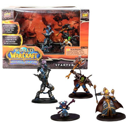 Blizzard Year 2008 World of Warcraft Miniatures Game Series Mini Figure Starter Set with Vindicator Hodoon (Draenai Paladin), Gorebelly (Orc Warrior), Ruby Gemsparkle (Gnome Mage) and Lotherin (Blood Elf Priest) Plus 4 Cards, 8 Action Bar, 6 Ten-Sided Dice, Map and Checklist by World of Warcraft