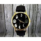 Relojes Hermosos, Reloj luna fase, reloj astronomía, espacio reloj, reloj de señora, reloj para hombre, idea del regalo, reloj personalizado, accesorio de ( Color : Negro , Talla : Para Mujer-Una Talla )
