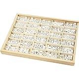 Cuentas de madera, medidas 8x8 mm, medida agujero 3 mm, blanco, verde prado, A-Z, &, #, ?, 750surtido