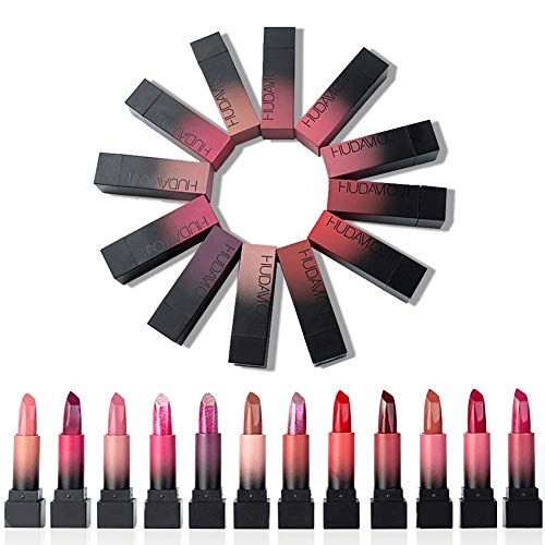 Matt Nude Lipgloss Set 12er Pack Lippenstifte Multi-Color Langlebiger Antihaft-Tasse Glamour Lippenstift Matt Misty Smooth Feuchtigkeitsspendender Lipgloss