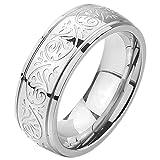 MunkiMix 7mm Acero Inoxidable Anillo Ring Banda Venda El Tono De Plata Grabado Florentino Diseño Talla Tamaño 4~15 35 Hombre