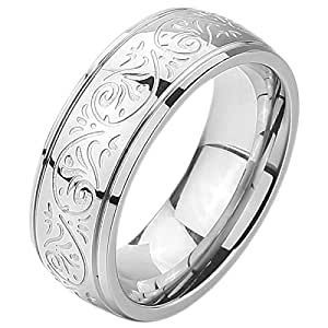 MunkiMix 7mm Stainless Steel Ring Band Silver Tone Engraved Florentine Design Size 4~15 H Men