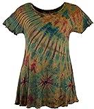 Guru-Shop Batik Minikleid, Boho Tunika, Damen, Olive, Synthetisch, Size:40, Kurze Kleider Alternative Bekleidung