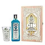 Bombay Sapphire Gin Geschenkset - Der Gin des Lebens - mit 1 l Bombay Sapphire und graviertem Glas in Holzverpackung mit Wunschnamen