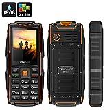 VKworld Stone V3 GSM Phone - IP67 Waterproof, 5200mAh Battery Power Bank, Rugged Phone, Dust Resistence, Shatter Resistence Proof, Flash Light, Bluetooth (Orange)