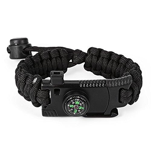 Zhuhaimei,Outdoor einstellbare multifunktionale Paracord Armband Schaber Pfeife Flint Compass Survival Tool(Color:SCHWARZ)