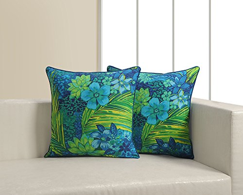 ShalinIndia Floral Print Cushion Cover Set With 2 Throw Pillow Covers Cotton Poplin Fabric 18x 18 Inch