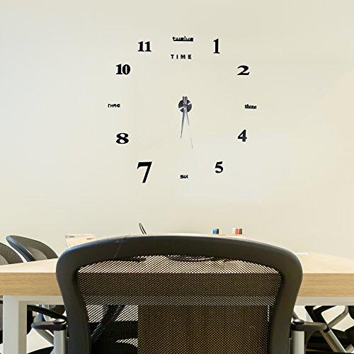 Moderno Orologio Da Parete Fai Da Te Yosoo, Tridimensionale 3D Sticker Decorazione Per Casa Ufficio Hotel Ristorante, Migliore Scelta Come Regalo – Nero - 9
