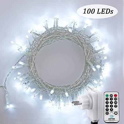 NEXVIN 100 LED Lichterkette Weihnachten in Weiß, 13m Lichterkette Steckdose mit Fernbedienung und Timer, 8 Modi Dimmbar, fuer Innen Zimmer Bett Hochzeit Party Weihnachten Tannenbaum