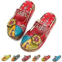 cec2ffb4b28 gracosy Merceditas de cuña Chanclas Zapatos de Mujer de Cuero de Verano  Plataforma de Confort Zapatos