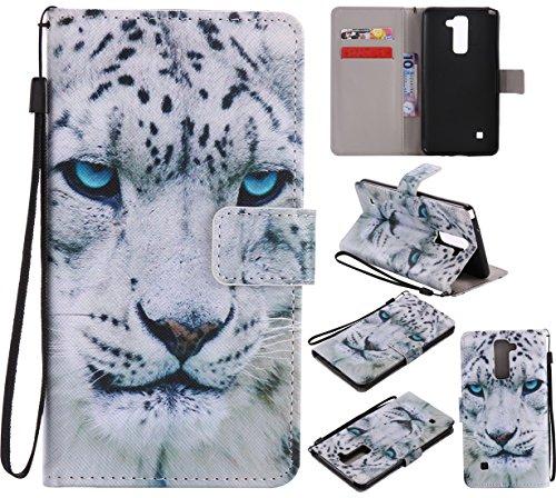 Nancen Compatible with Handyhülle LG G Stylo 2 / LG Stylus 2 / LG Stylus 2 Plus LS775 K520 Hülle / Handyhülle, Painted Tier PU Leder Tasche Schutzhülle Case [Weiß Leopard]
