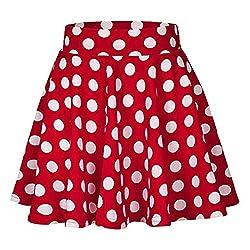 YEBIRAL Damen Rock Einfarbig Polka-Punkt Elegante Sexy Hoher Taille Super Weich Dehnbar und Leicht Freizeit Plissiert MiniRöcke(XL,Rot)