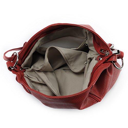 OH MY BAG Sac à Main femme en CUIR italien porté main et épaule Modèle So Chic Nouvelle collection ROUGE CLAIR