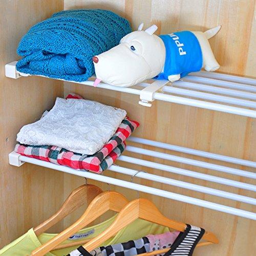 Vancore diy mensola armadio regolabile mensola per armadio divisore portaoggetti per armadio armadietto, bianca, lunghezza: 30cm ~ 40cm; larghezza: 24cm