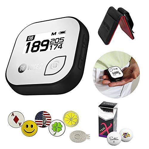 AMBA7 GolfBuddy Voice 2 Golf GPS-Entfernungsmesser-Set mit 1 magnetischem Hut-Clip und 5 Ballmarkern und Saint9un, 2 Ballmanschetten und Gürtelclip, Schwarz Platinum Gps