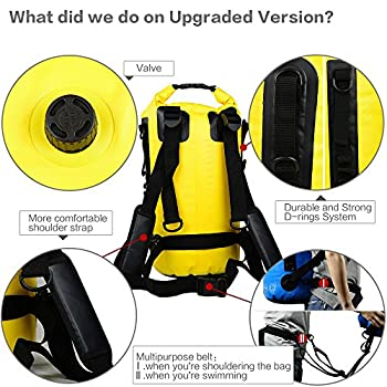 Aquafree Dry Bag, 20l Yellow Dry Backpack, Comfortable & Heavy-duty Grab Handle & Shoulder Strap, Best Material Waterproof Backpack, Quality Roll Top, Waterproof 6