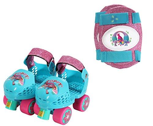PlayWheels Trolls Kids Roller Skates with Knee Pads - Junior Size 6-12 by PlayWheels -