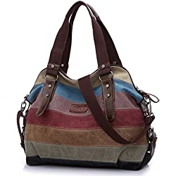 Baishilin Multicolor rayas la lona de los totalizadores del bolso de las mujeres Hobos y bolsos de hombro
