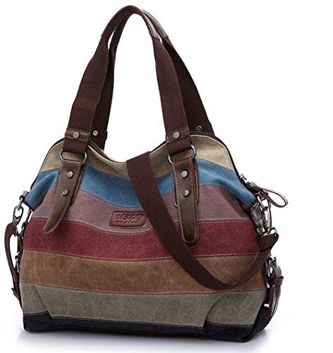 Baishilin Multi-Color-Striped Damen Handtasche / Umhängetasche Canvas Shopper Tasche Vintage Hobo Bags (Damen-flasche)