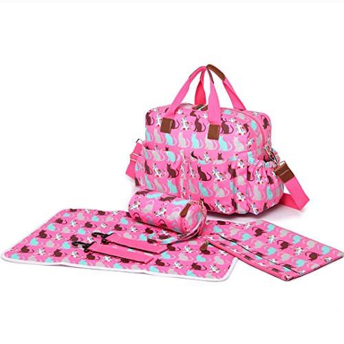 Miss Lulu 4PCS Baby Windel Windel Wickeltasche Set große Tragetasche Handtasche Schmetterling Blume Polka Dots Elefant Hund Katze Vogel Print -