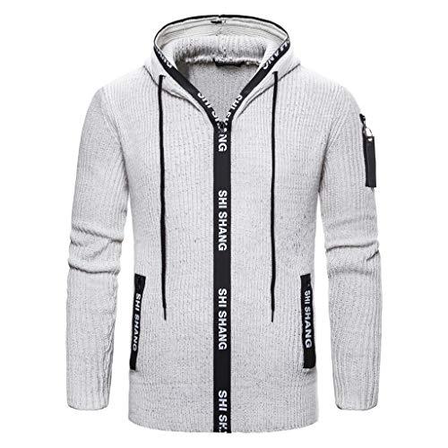 Wulishe Herren Langarm Stricken Strickjacke Langen Einfarbig Lässiges Mantel Jacke mit Tasche Männer Jacket Jacke für Frühling Herbst Warm Oberteile Schlichtes Drawstring Outwear Casual Solid Coat -