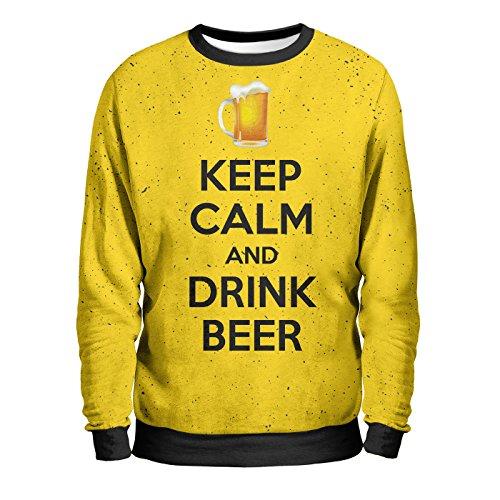 KEEP BEER Felpa Uomo - Beer To Dream Sweatshirt Man - Calm Drink Birra Gelata Fredda Bionda Rossa Scura Brindare Pinta Spillatore Fun T-Shirt Multicolore