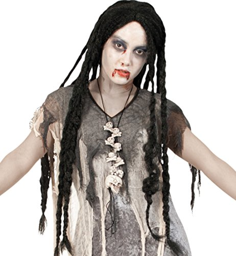 Perücke Freaky HALLOWEEN Haarlänge Zöpfe: ca. 80 cm Peruecke Horror Zombie Hexe Dracula Raster Man Reggae (Zombie Kostüm Freaky)
