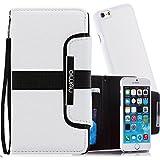 2 in 1 Numia Bookstyle Handytasche + HandyCover für Apple iPhone 5 mit Magnetverschluss + Trageband Weiß Schwarz