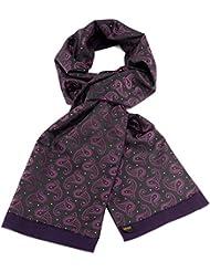 Mailando Herrenschal aus Kaschmir-Woll-Mix und Seide, Paisley Muster, sehr elegant, schwarz – violett