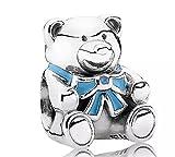 FeatherWish - Abalorio de oso de peluche de plata de ley 925 para pulsera Pandora, color azul
